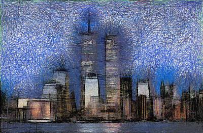 Twin Towers Nyc Painting - New York City Skyline by Georgi Dimitrov