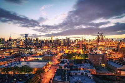 Skylines Photograph - New York City Skyline - Lights At Dusk by Vivienne Gucwa