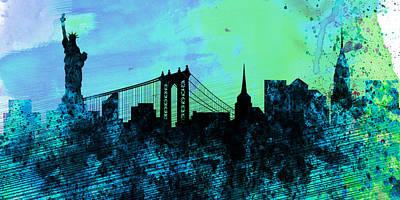 Panoramic Digital Art - New York City Skyline by Naxart Studio