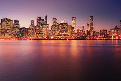 Lower Manhattan Photograph - New York City Skyline - Night Lights by Vivienne Gucwa