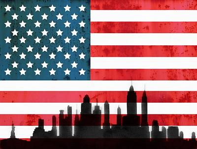 New York City Skyline Mixed Media - New York City Skyline On American Flag by Dan Sproul