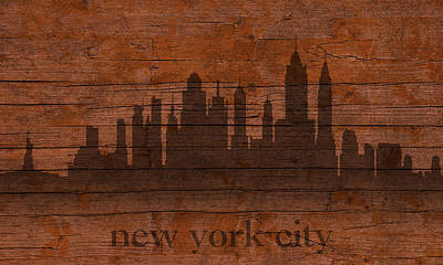 New York City Skyline Mixed Media - New York City Skyline Silhouette Distressed On Worn Peeling Wood by Design Turnpike