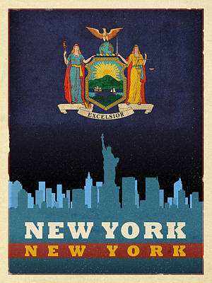 New York City Skyline Mixed Media - New York City Skyline State Flag Of New York Nyc Manhattan Art Poster Series 005 by Design Turnpike