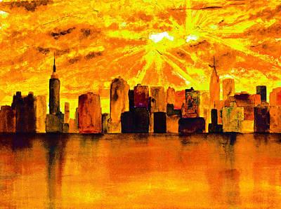 Empire State Building Painting - New York City Skyline Yellow Orange by Ken Figurski