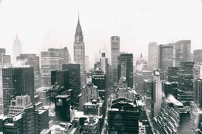 New York City - Snow-covered Skyline Print by Vivienne Gucwa