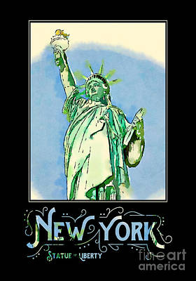 Liberty Island Digital Art - New York City Statue Of Liberty Digital Watercolor 2 by Beverly Claire Kaiya