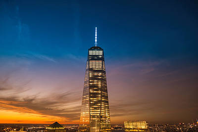 New York City - Sunset And One World Trade Center Print by Vivienne Gucwa