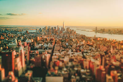 Skylines Photograph - New York City - Sunset Over Manhattan's Skyline by Vivienne Gucwa