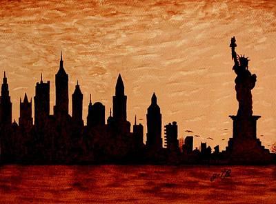 New York City Sunset Silhouette Print by Georgeta  Blanaru