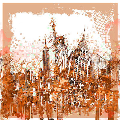 Statue Portrait Digital Art - New York City Tribute 4 by Bekim Art