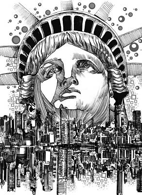 Statue Portrait Digital Art - New York City Tribute by Bekim Art