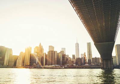 Skylines Photograph - New York City - Under The Brooklyn Bridge - Skyline Sunset  by Vivienne Gucwa