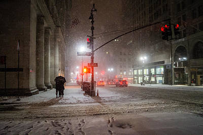 Winter Night Photograph - New York City Winter - Romance In The Snow by Vivienne Gucwa