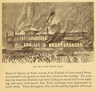 New York Crystal Palace On Fire Print by Mid-manhattan Picture Collection/new York Public Library