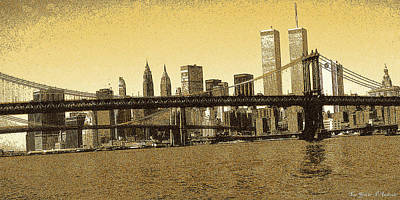 Brooklyn Bridge Drawing - New York Downtown Manhattan Skyline Yellow by Art America Online Gallery
