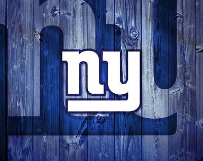 Blue Barn Doors Mixed Media - New York Giants Barn Door by Dan Sproul