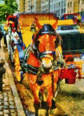 Tourist Attraction Mixed Media - New York Horse And Carriage by Dan Sproul