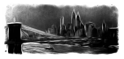 Skyscrapers Drawing - New York In The Dark by Stefan Kuhn