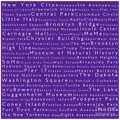 New York In Words Purple Print by Sabine Jacobs
