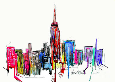 Empire State Building Painting - New York Inked by Bri B