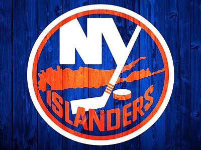 Sports Mixed Media - New York Islanders Barn Door by Dan Sproul
