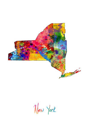 Empire State Digital Art - New York Map by Michael Tompsett