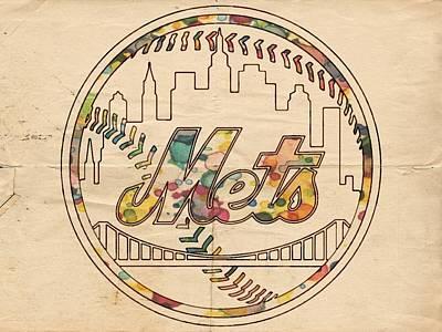Bat Digital Art - New York Mets Poster Vintage by Florian Rodarte