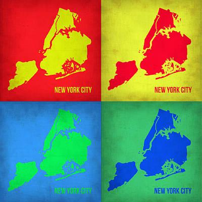 City Map Painting - New York Pop Art  Map 1 by Naxart Studio