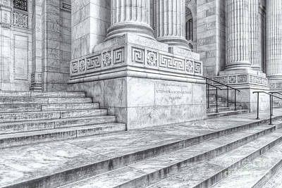 New York City Photograph - New York Public Library Columns And Stairs Iv by Clarence Holmes