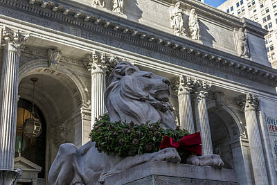 Front Steps Photograph - New York Public Library by David Morefield