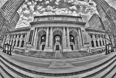 New York Public Library - Nypl Bw Print by Susan Candelario