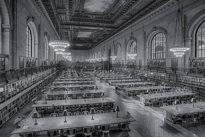 The Main Photograph - New York Public Library Rose Room Bw by Susan Candelario