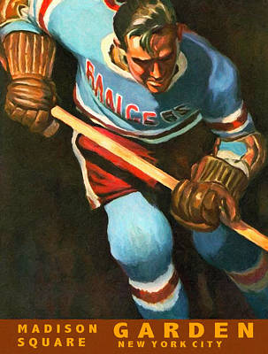 National Hockey League Painting - New York Rangers Vintage Poster by Big 88 Artworks