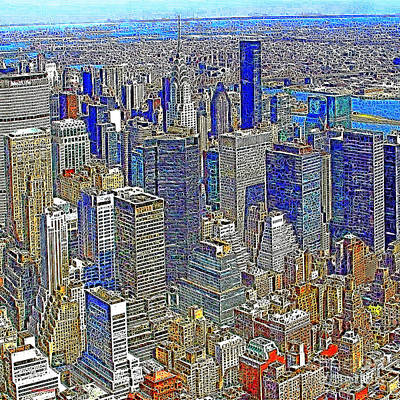 Nyc Digital Art - New York Skyline 20130430v4-square by Wingsdomain Art and Photography