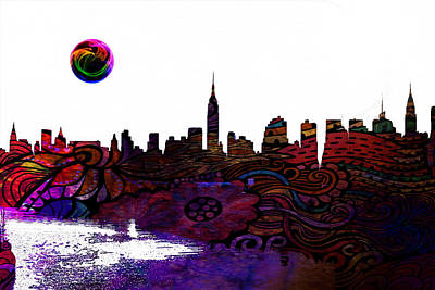 Body Paint Painting - New York Skyline by Celestial Images