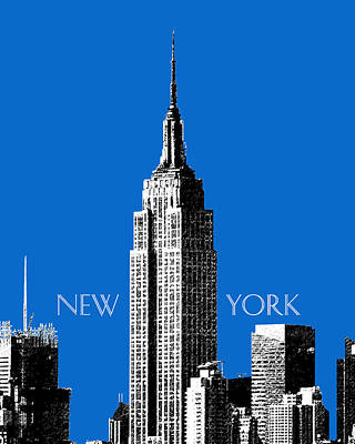 Empire State Digital Art - New York Skyline Empire State Building - Blue by DB Artist