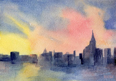 Skyline Painting - New York Skyline Empire State Building Pink And Yellow Watercolor Painting Of Nyc by Beverly Brown Prints