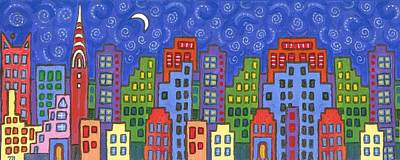 Building Painting - New York Skyline by Linda Mears