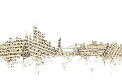 Cities Digital Art - New York Skyline Sheet Music by Michael Tompsett