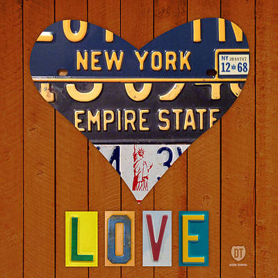 Statue Of Liberty Mixed Media - New York State Love Heart License Plate Art Series On Wood Boards by Design Turnpike