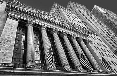 New York Stock Exchange Wall Street Nyse Bw Print by Susan Candelario