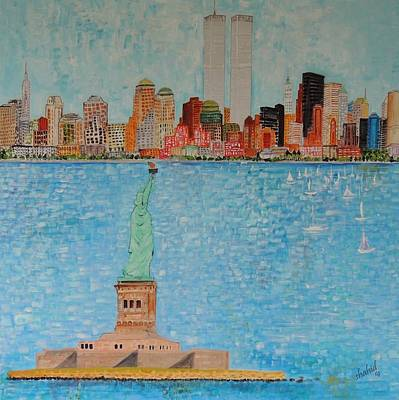 Twin Towers Nyc Painting - New York  Summer Of 1992 by Shahid Zuberi