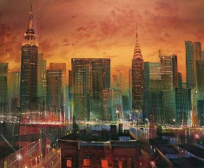 Skyline Painting - New York The Emerald City by Tom Shropshire