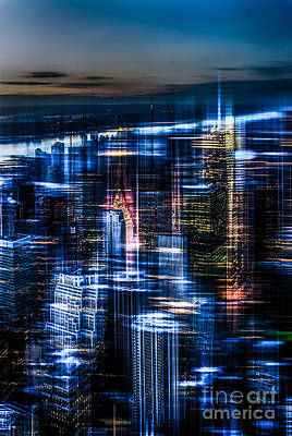 New York - The Night Awakes - Blue I Print by Hannes Cmarits