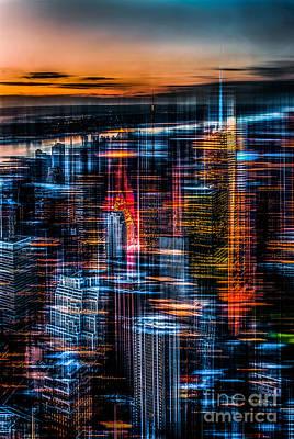 New York- The Night Awakes - Orange Print by Hannes Cmarits