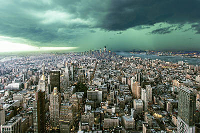 New-york Under Storm Print by Pagniez