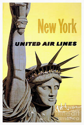 Airlines Drawing - New York Vintage  Travel Poster by Jon Neidert