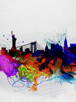 New York  Watercolor Skyline 1 Print by Naxart Studio