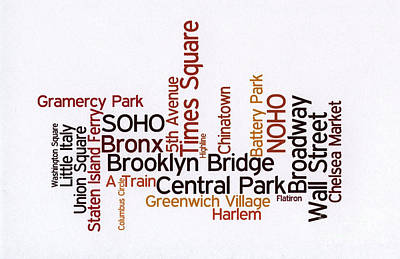 New York Wordcloud Print by David Bearden