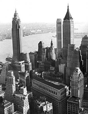 Built Structure Photograph - New York's Financial Center by Underwood Archives